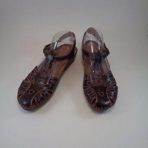 PINKOLINOS Brown Leather Woman's Sandals EU 41